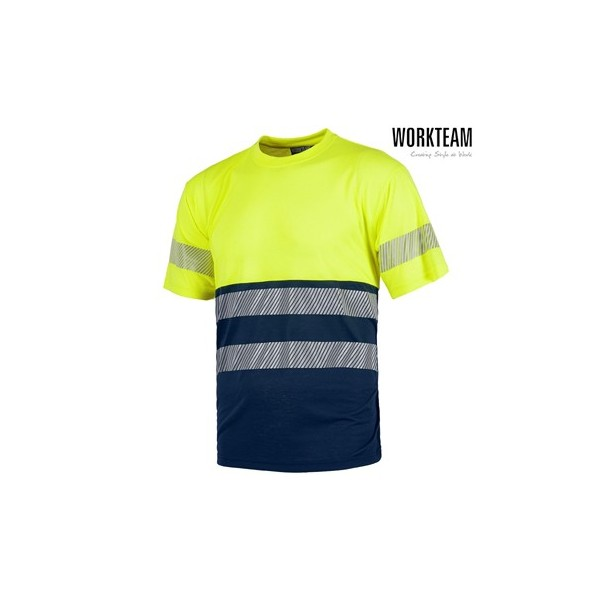 Camiseta manga corta Amarillo / Azul